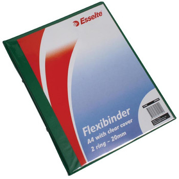 Esselte Flexibinder 2 Ring 20mm A4 Clear Front Green