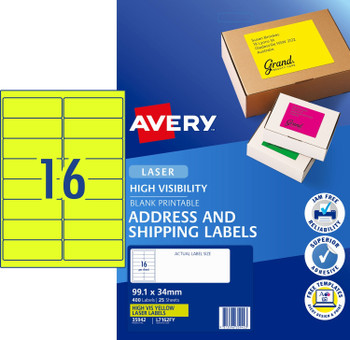 Avery L7162FY Laser Labels 16UP Fluoro Yellow PACK 25