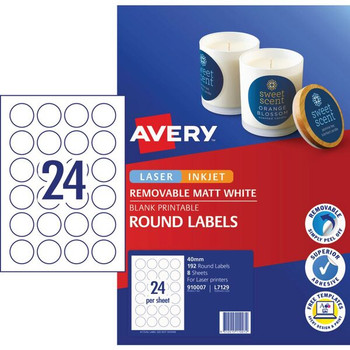 Avery Matte White Round Pricing Labels 40mm 192 Pack