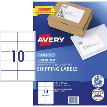 Avery 959031 10UP Laser Shipping Labels 100 Sheets