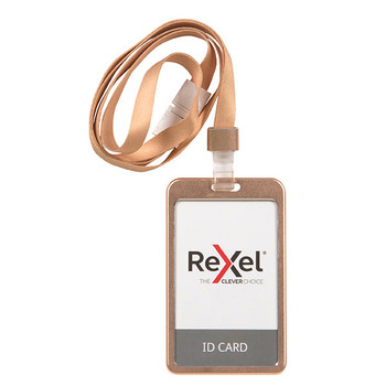 Rexel ID Card Holder With Lanyard Aluminium Rose Gold Portrait