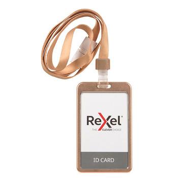 Rexel ID Card Holder With Lanyard Aluminium Rose Gold Portrait