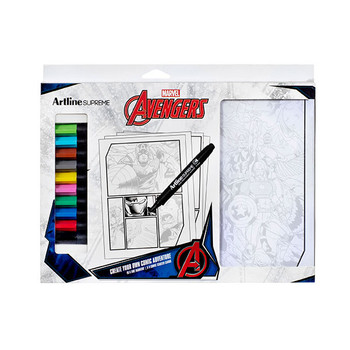 Artline Supreme and Marvel have teamed up to bring you a brand new way to bring The Avengers to life  Create your own Marvel Comic adventure with the Artline Supreme Marvel Comic Kit This kit contains everything needed to draw your own Avengers Comic strip The Avengers destiny is in your hands Start creating your own comic book adventure today! 10 x Artline Supreme Fine Markers included Each pack includes 5 comic starter cards ideal for creating your own adventure