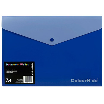 Colourhide Document Wallet A4 PP With Button Blue 10 Pack