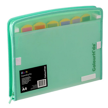 Colourhide Zip It Expanding File Biscay Green