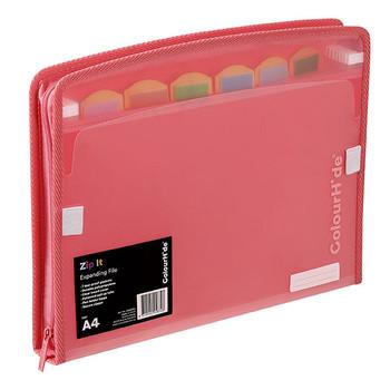 Colourhide Zip It Expanding File Watermelon