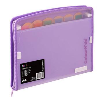 Colourhide Zip It Expanding File Purple