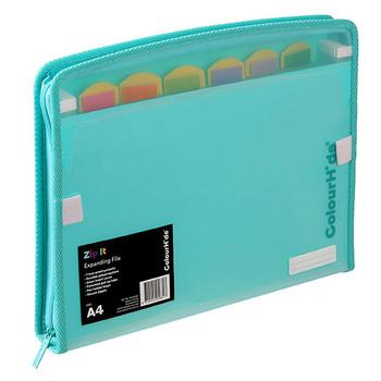 Colourhide Zip It Expanding File Aqua