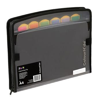 Colourhide Zip It Expanding File Black