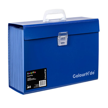 Colourhide Expanding Carry File Blue