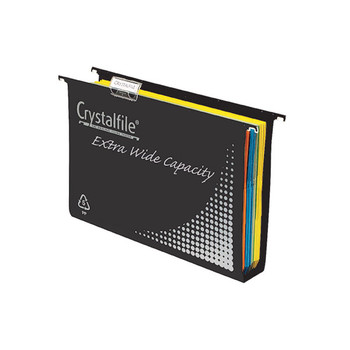 Crystalfile Extra Wide Suspension File Complete Foolscap Black Pack 10