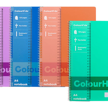Colourhide Notebook A4 120 Pages Assorted Pack 4