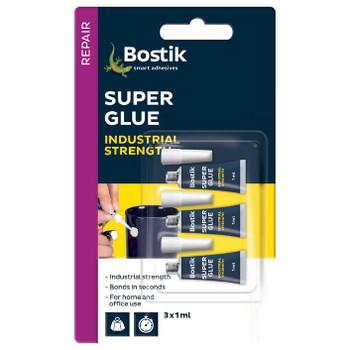 Bostik Super Glue Liquid Tube 1mL 3 Pack