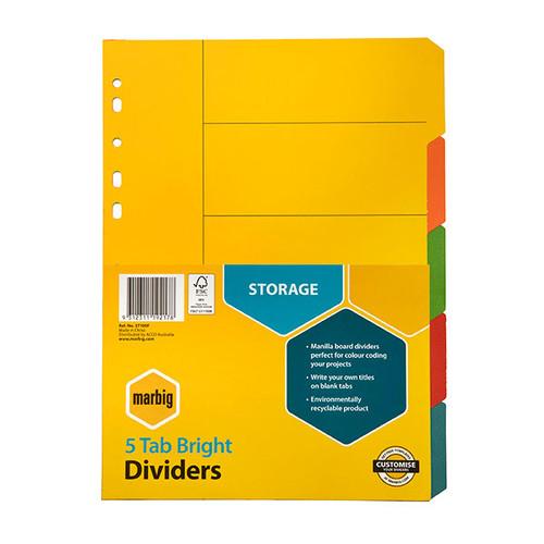 Marbig Dividers Manilla A4 Bright Colours 5 Tab