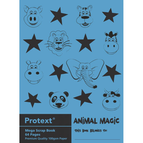 Protext Animal Magic Scrap Book 64 pages 100gsm 330 X 240mm Assorted
