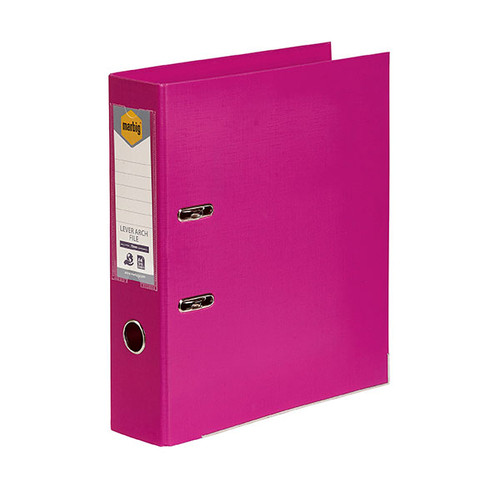Marbig Lever Arch File A4 PE Pink Box Of 10