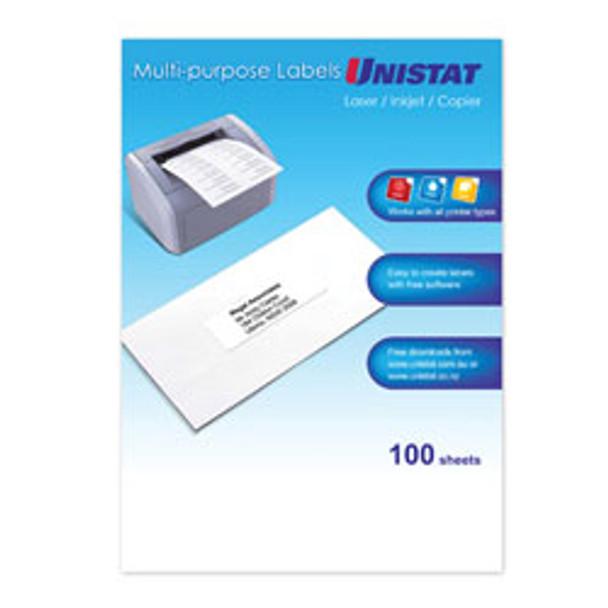 UNISTAT 38939 Laser Inkjet & Copier Labels 1 Label/Sheet A4 Box100