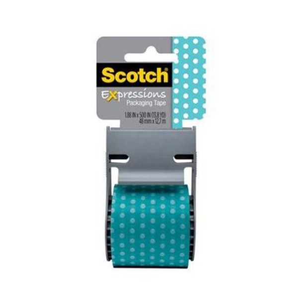 Scotch® Expressions Packaging Tape 141-PRTD2 Turquoise With Dots