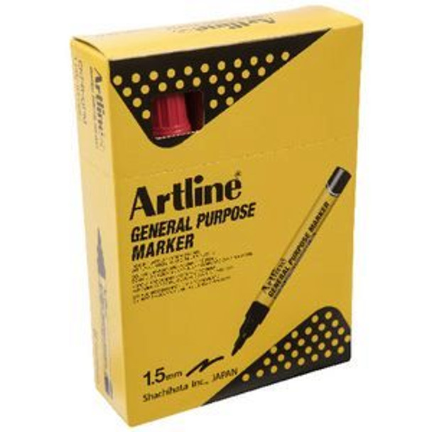 Artline General Purpose Markers Red 12 Pack
