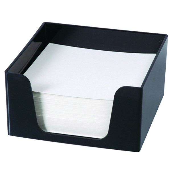 Esselte SWS Plastic Memo Cube WITH 500 Blank Sheets Black