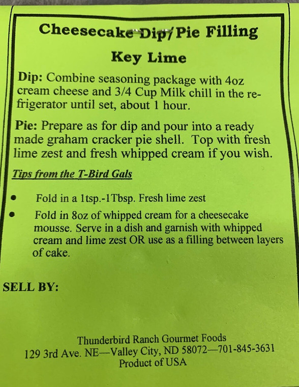 Key Lime Cheesecake Dip or Pie Filling