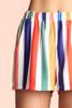 Rainbow Print Stripe Pocket Shorts Orange