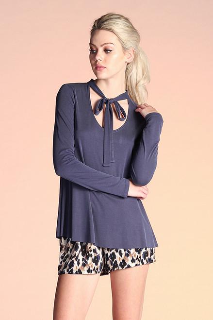 Slate Blue Ribbed Knit Tee