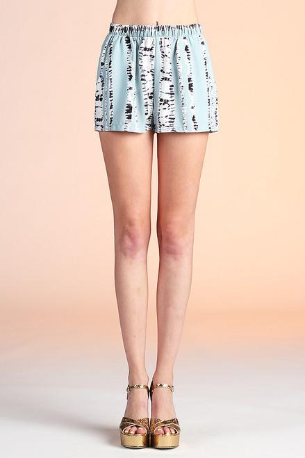 Sage Print Tie Dye Stripe Shorts