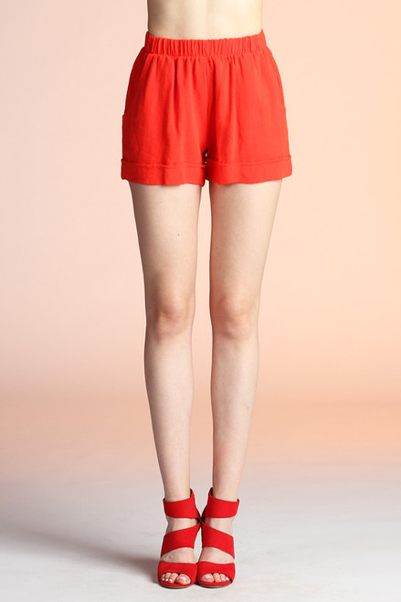 Washed Cotton Shorts with Pockets Tomato Red