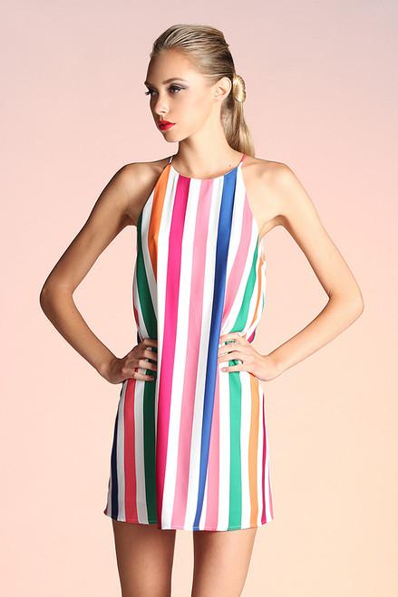 Orange Rainbow Stripe Print Shift Dress
