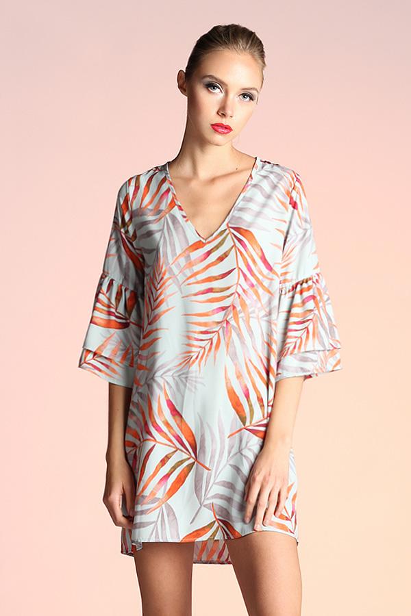 Watercolor Leaf Print Shift Dress D-3634