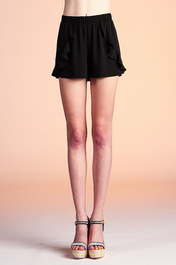 Cascade Ruffle Textured Shorts P-3233