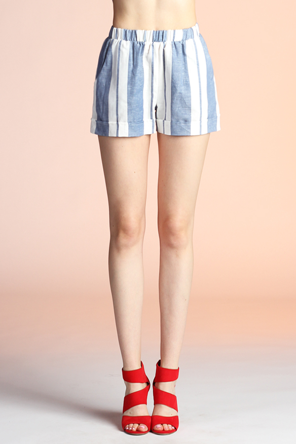 Resort Stripe Linen Shorts P-3607