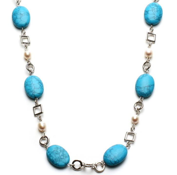 Womens Jewelry Long Turquoise and Fresh Water Pearl Necklace