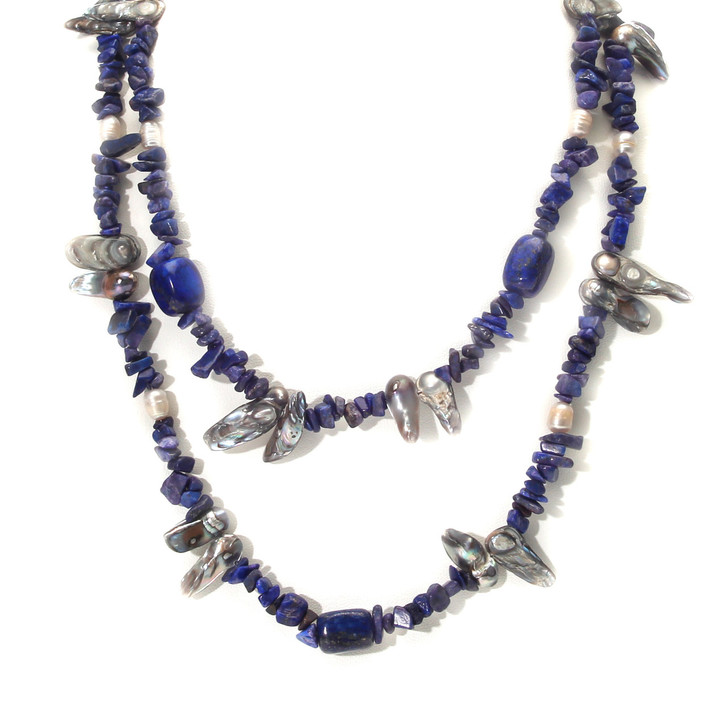 Maui Waves Genuine Lapis Lazuli and Freshwater Pearl Necklace