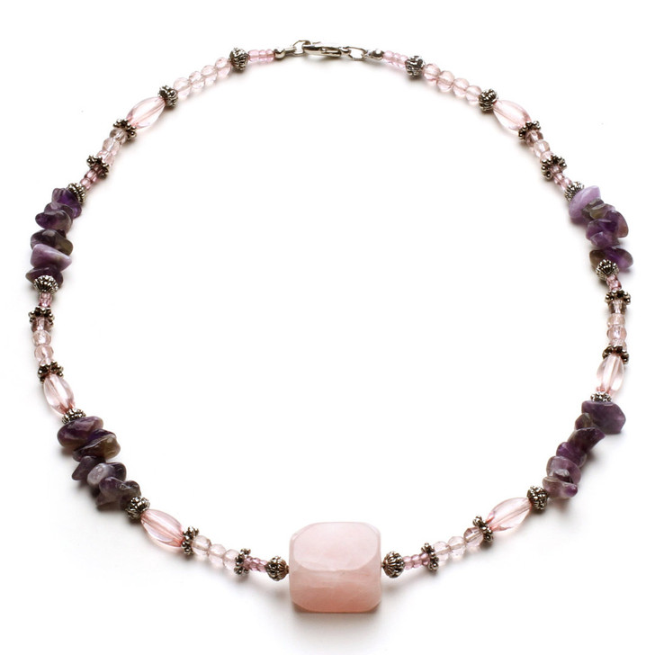 Paradise Genuine Pink Quartz and Amethyst Necklace