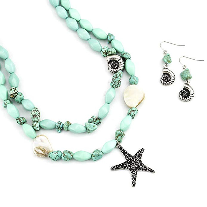 Turquoise Starfish Seashell Statement Necklace and Earring Set