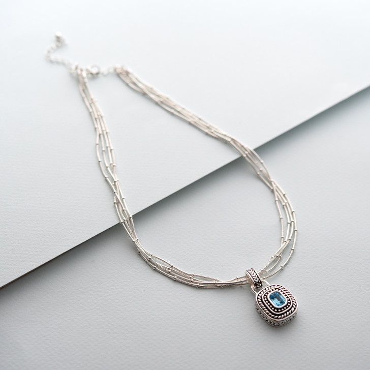 Designer inspired womens pendant necklace. Aquamarine Crystal. Necklace length measures 16 inches long, with a 3 inch extender.  Add your own pendant to the chains for a totally unique  look.
