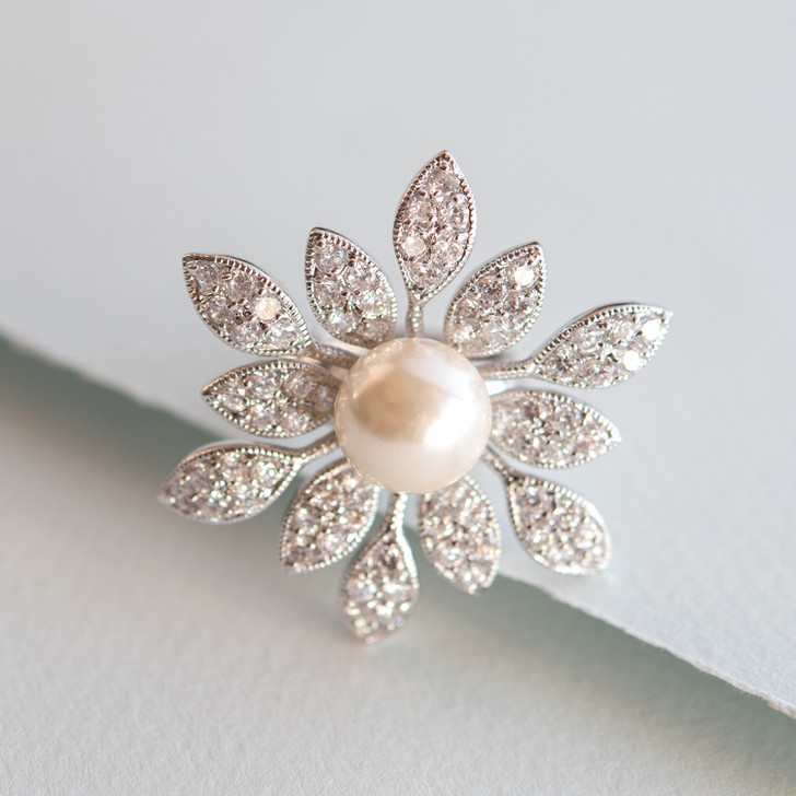 Poised Blossom Pearl and Crystal Stretch Ring