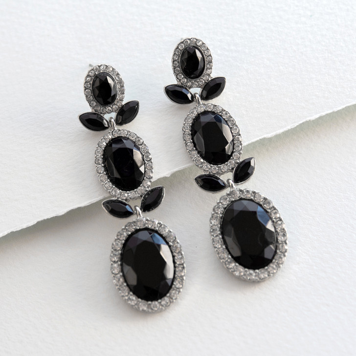 Leading Lady Black Bead Dangle Earrings