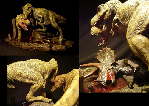 Tyrannosaurus Fight Over Carcass by DinoStoreus