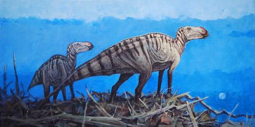 """The Cretaceous Overlook"" Brachylophosaurus by Rodrigues"