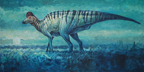 """Prairie Moon"" Corythosaurus by Rodrigues"