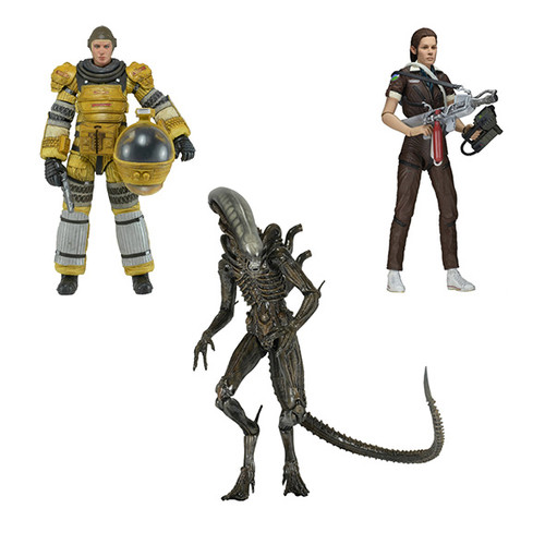 "Xenomorph, Amanda Ripley in Jumpsuit, Amanda Ripley in Compression Suit from ""Alien Isolation"" by NECA"