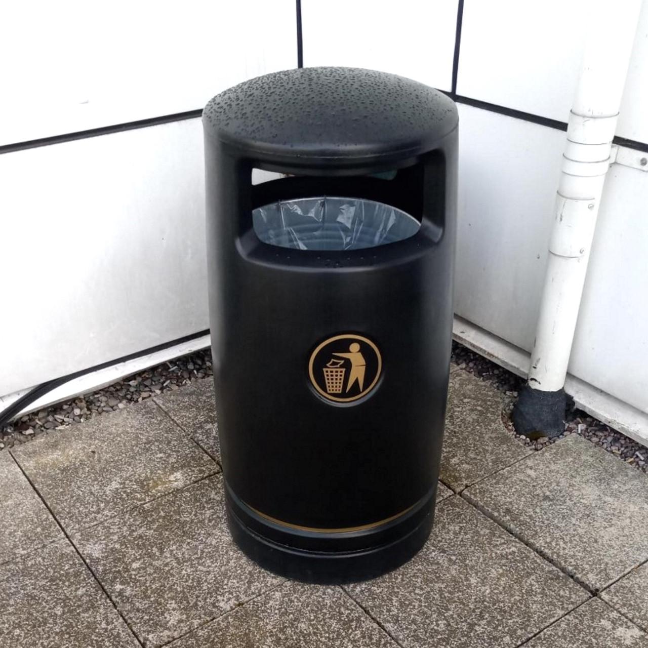 Black Trojan 100 Litre outdoor floor mount litter bin