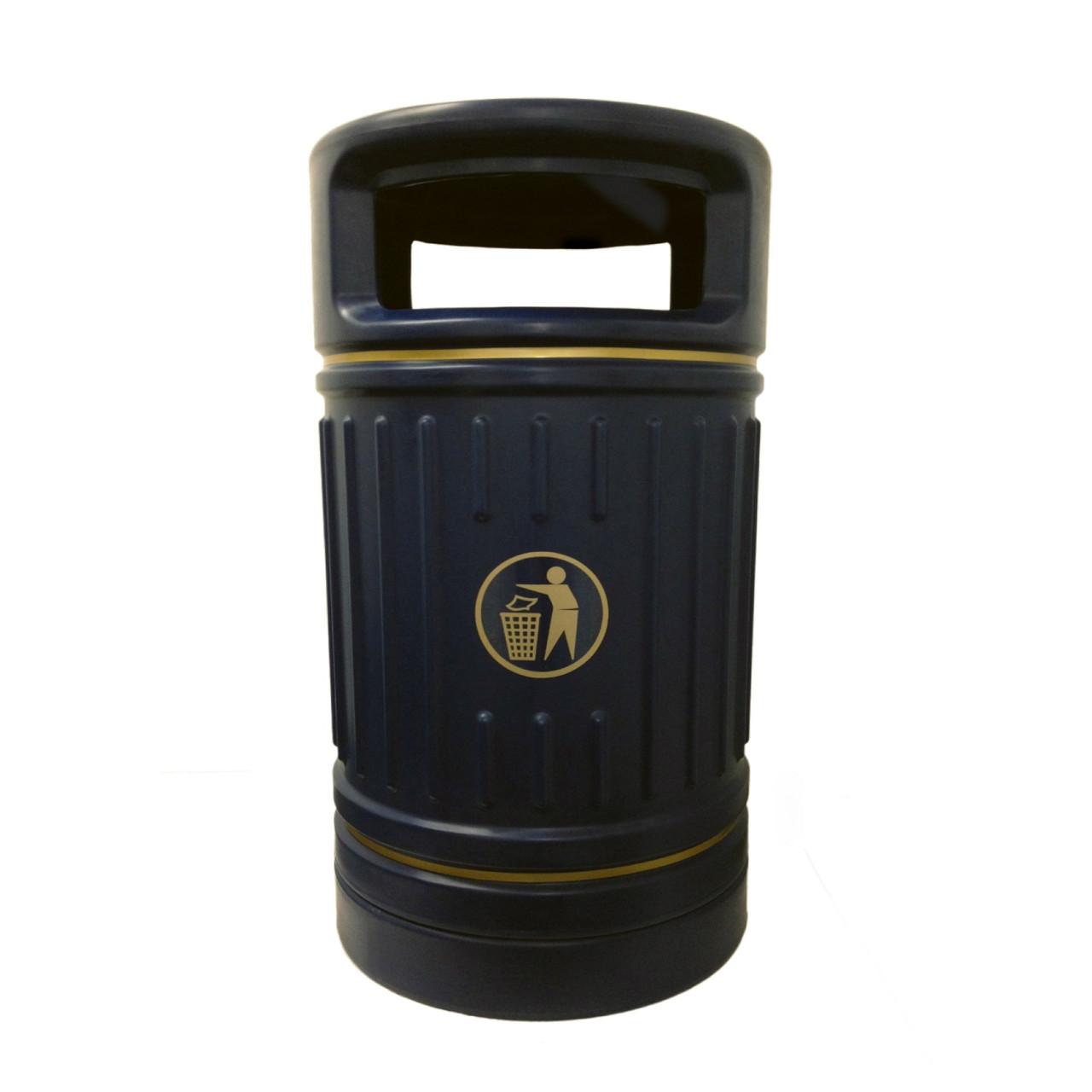 Black Centurion 100 Litre plastic heritage litter bin