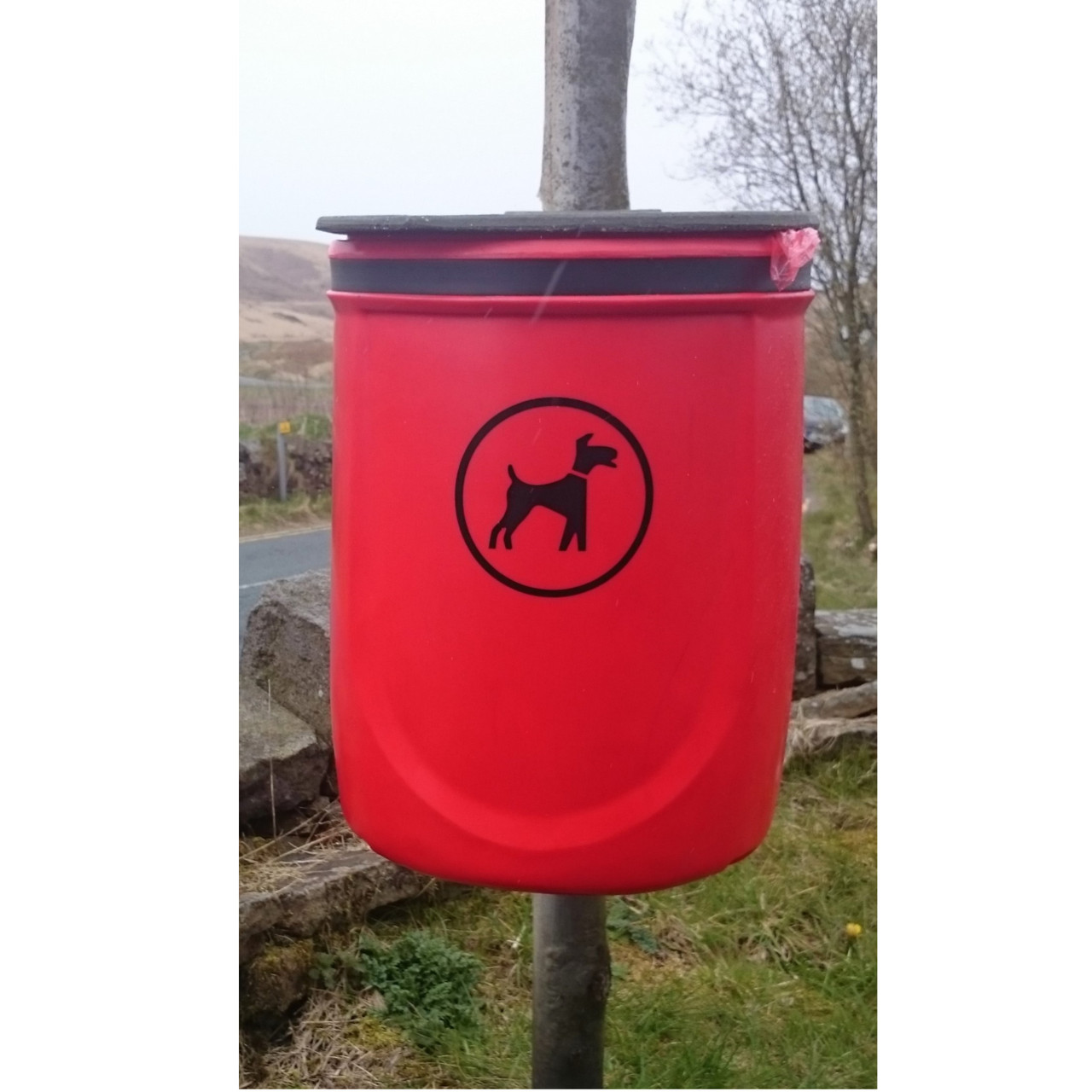 Doggy waste bin on steel post