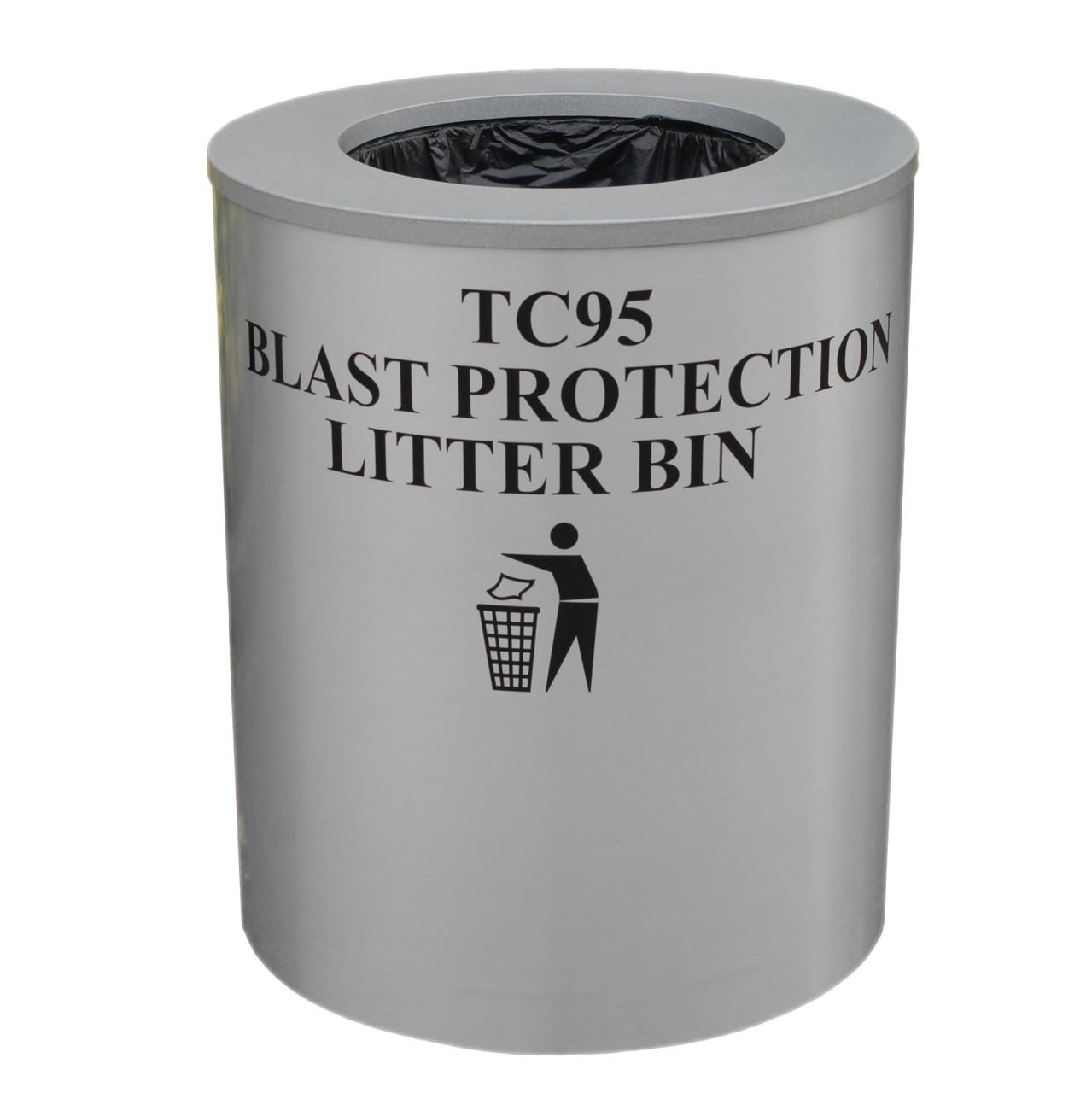 TC95 grey metal blast resistant litter bin
