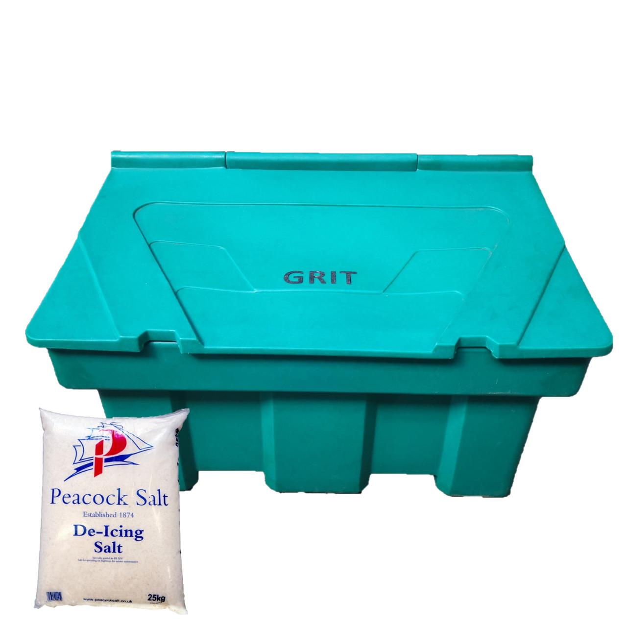 350 Litre Heritage Green Grit Bin - Optional 350kg Rock Salt
