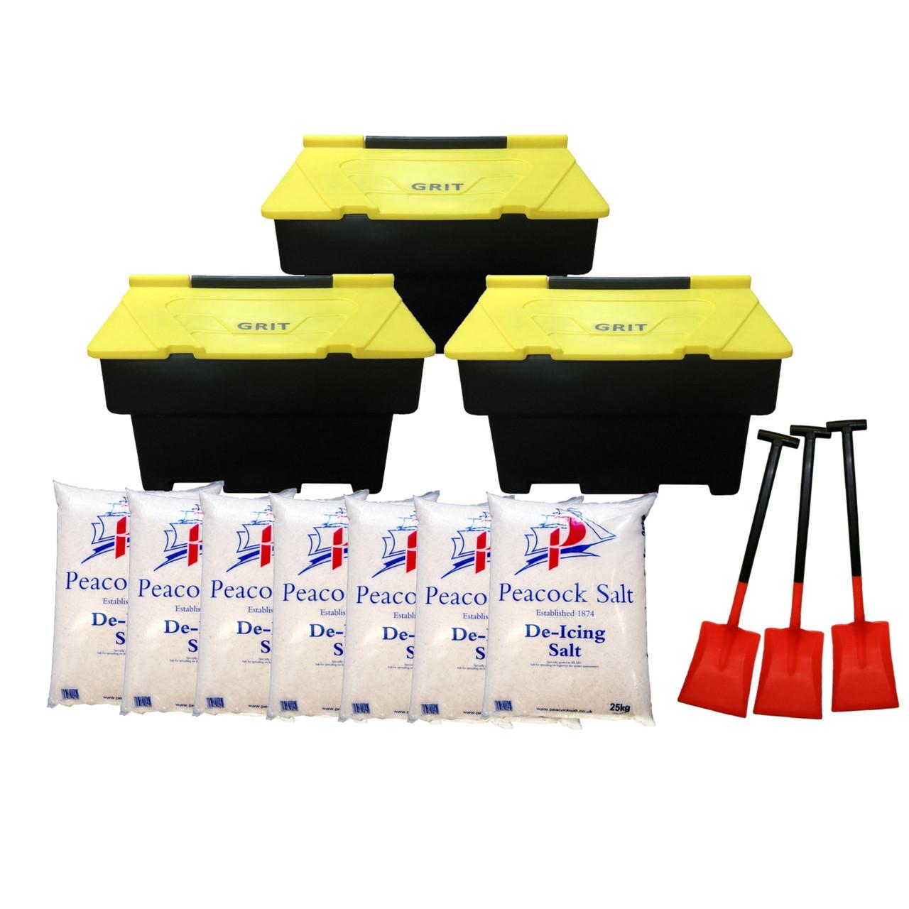 200 Litre school grit bin pack inc shovels and rock salt